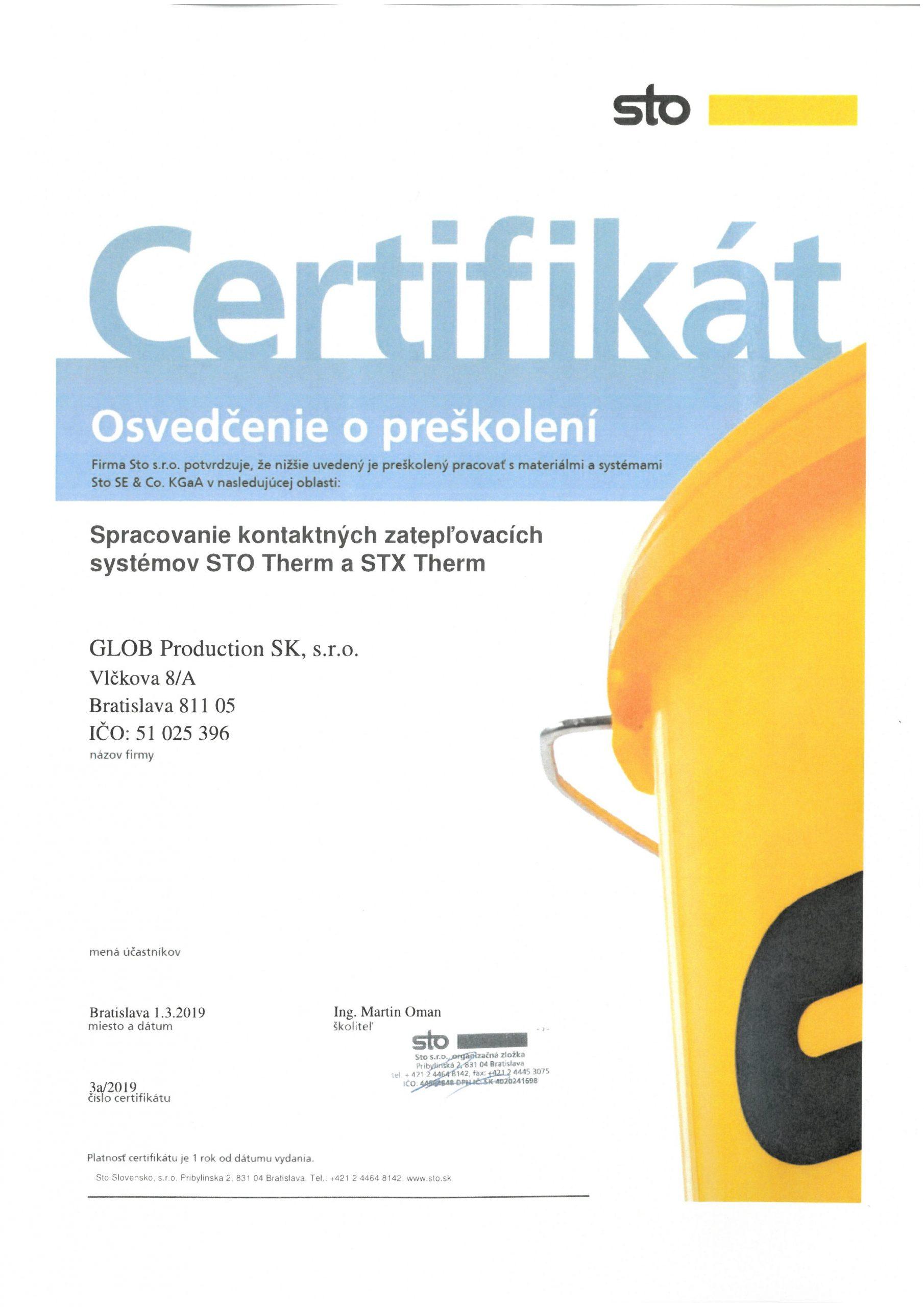 Certifikát STO