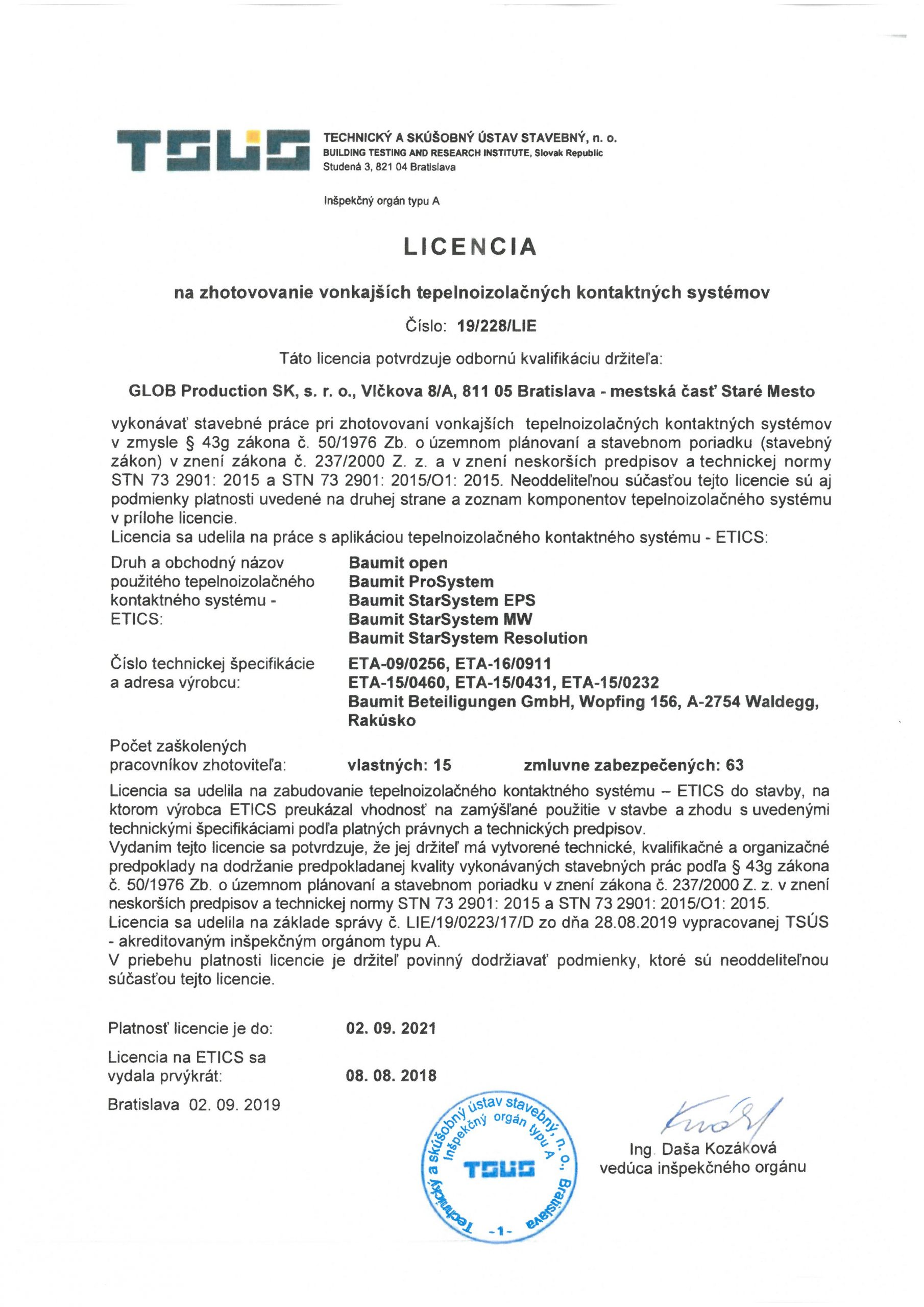 TSUS - Licencia BAUMIT
